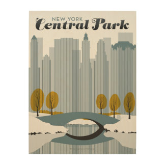 Central Park, NYC - Snow Wood Print