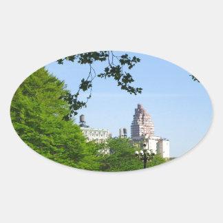 Central Park Skyline Oval Sticker