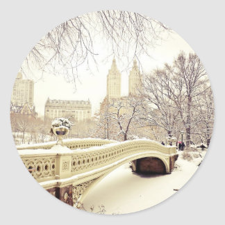 Central Park Snow - Winter New York Classic Round Sticker