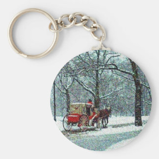 Central Park Snowy Carriage Basic Round Button Key Ring