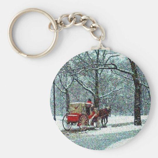 Central Park Snowy Carriage Basic Round Button Key