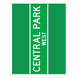 Central Park West, New York Street Sign Postcard