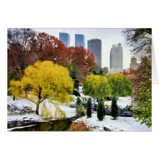 Central Park Winter and Fall Note Card