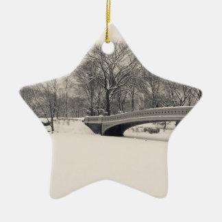 Central Park Winter - Bow Bridge Snow Ceramic Star Decoration