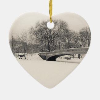 Central Park Winter - Bow Bridge Snow Christmas Ornament