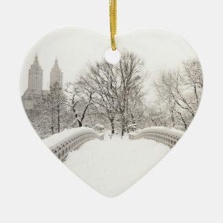 Central Park Winter Romance - Bow Bridge Christmas Ornament
