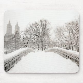 Central Park Winter Romance - Bow Bridge Mouse Mat