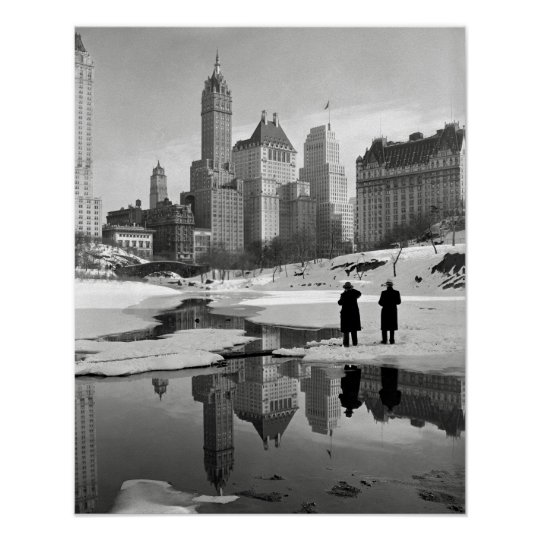 Central Park Winter Scene, 1933. Vintage Photo Poster