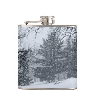 Central Park Winter Snow Landscape Photo Hip Flask