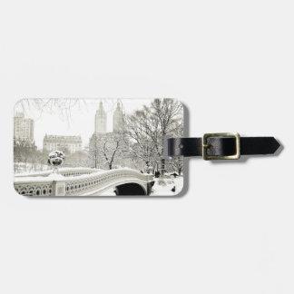 Central Park Winter - Snow on Bow Bridge Bag Tag