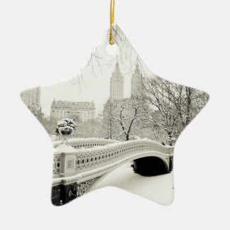 Central Park Winter - Snow on Bow Bridge Christmas Ornament