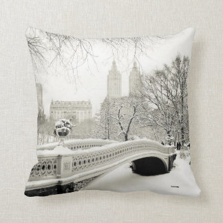 Central Park Winter - Snow on Bow Bridge Cushion