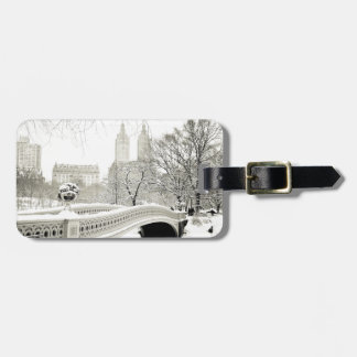 Central Park Winter - Snow on Bow Bridge Luggage Tag