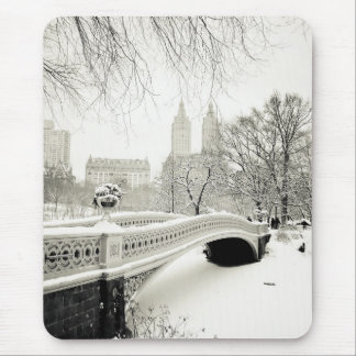 Central Park Winter - Snow on Bow Bridge Mouse Mat