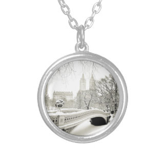 Central Park Winter - Snow on Bow Bridge Silver Plated Necklace