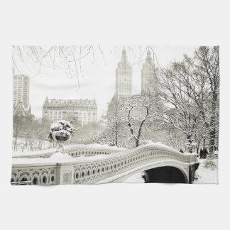 Central Park Winter - Snow on Bow Bridge Tea Towel