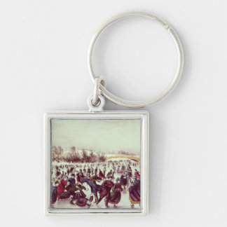 Central Park, Winter: The Skating Carnival Silver-Colored Square Key Ring