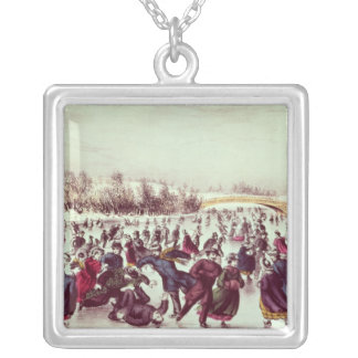 Central Park, Winter: The Skating Carnival Silver Plated Necklace
