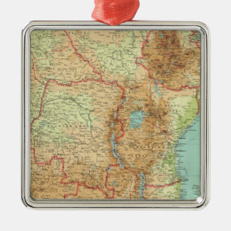 Central & Southern Africa with shipping routes Silver-Colored Square Decoration