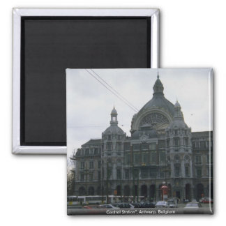 "Central Station"", Antwerp, Belgium Square Magnet"