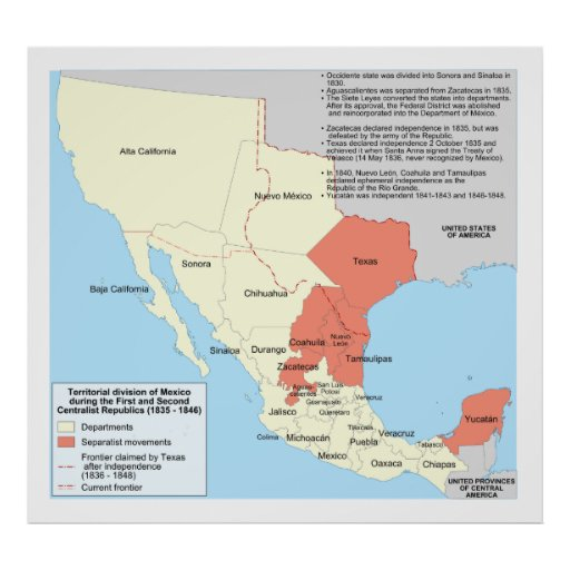 Centralist Republic of Mexico Territorial Map Posters