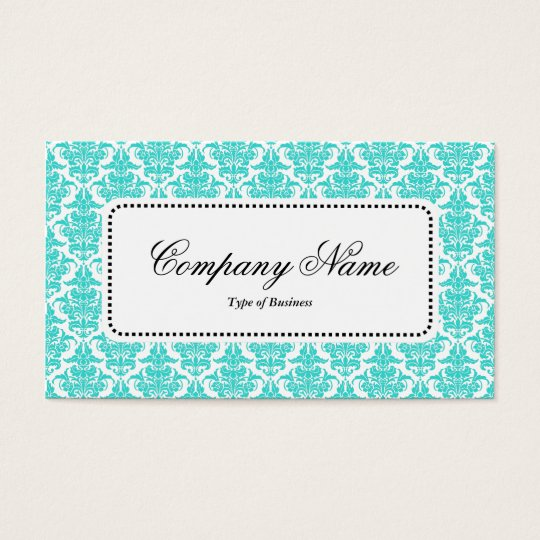 Centre Label v5 - Aqua Damask Business Card