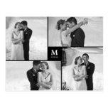 Centre Square Monogram Wedding Thank You Photo Postcard