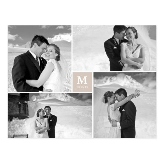 Centre Square Monogram Wedding Thank You Photo Postcard