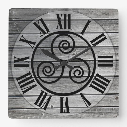 Centred Triskelion On Aged Wood Image, White Square