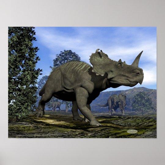 Centrosaurus dinosaurs walking among magnolia tree poster