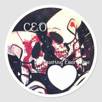 CEO conquering everyone till death with love Round Sticker