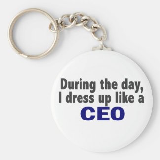 CEO During The Day Basic Round Button Key Ring