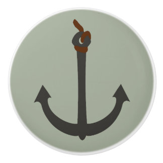 """Ceramic Anchor knob"" ""door pull grey anchor"""
