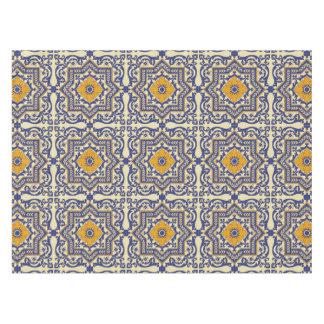 Ceramic Azulejo Style Blue Orange Tablecloth