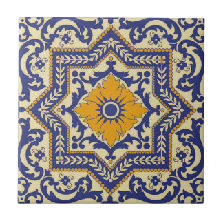 Ceramic Azulejo Style Blue Orange Tile