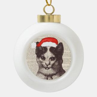 Ceramic Ball Ornament-  Santa Claus cat, Christmas