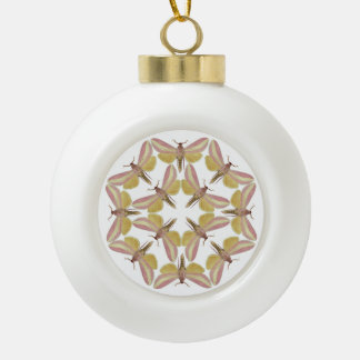 Ceramic ball ornament with pink hawk moths