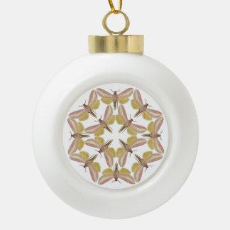 Ceramic ball ornament with pink hawk moths