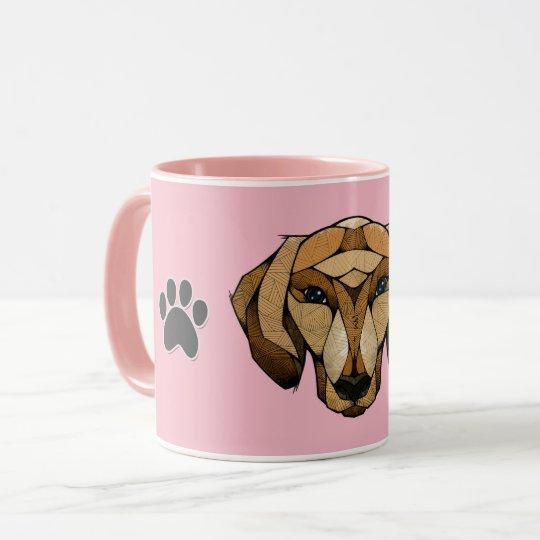 Ceramic Coffee Mug, 11oz pink dashund polygon Mug