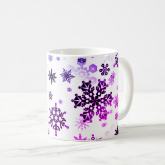 Ceramic Coffee Mug-Purple Snowflakes Coffee Mug