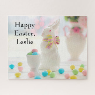 Ceramic Easter rabbit, egg cup and Easter eggs, Jigsaw Puzzle