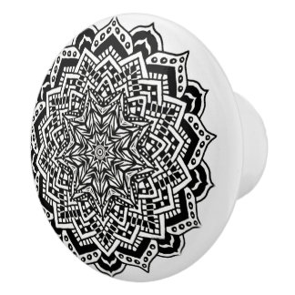 Ceramic Knob Black and White Mandala Design
