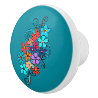 Ceramic Knob Colorful Floral Design