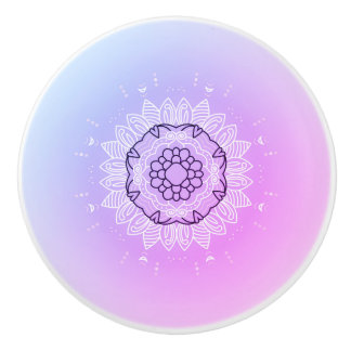 Ceramic knob : pink purple Mandala art