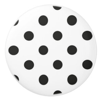 Ceramic Knob - White with Black Polka Dots