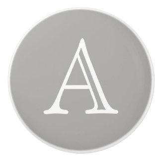 Ceramic Letter Knob Grey