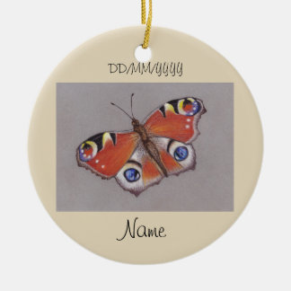 Ceramic Ornament with Peacock Butterfly Design 2