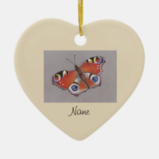 Ceramic Ornament with Peacock Butterfly Design 3