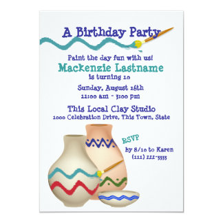 Ceramic Painting Birthday Party Card