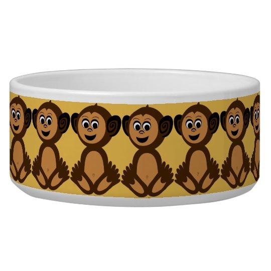 Ceramic Pet Bowl, Graphic Monkey